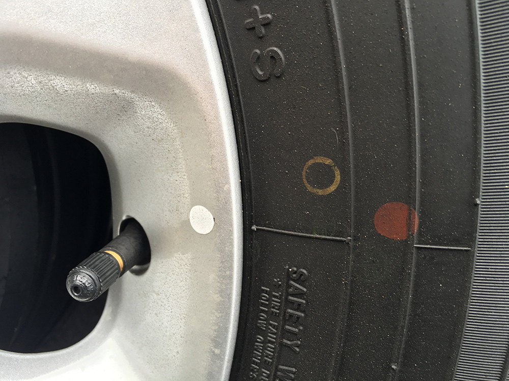 Known to the tyre industry as 'balance dots', the dots are there to guide tyre technicians as they mount fresh rubber to wheels.